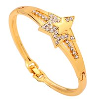 10k gold bracelet - Yazilind Jewelry Fashion K Yellow Gold Filled Bracelet Star Shape Crystal Bangle Bracelet Gift
