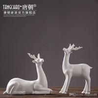 Wholesale Christmas Ceramic crafts home decorations animal deer figurine modern office sculpture