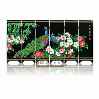 Wholesale New Chinese Handmade Vintage Miniature Wooden Peacock Lacquer Screen Ornaments