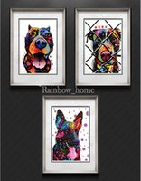 More Panel canvas picture frames - Dog Painting Modern Colorful Canvas Combination Painting For Home And Decoration Wall Hanging Abstract Art Picture Panels Without Frame