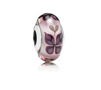 Cheap 925 Sterling Silver Pink Butterfly Murano Glass Charm Bead Summer Jewelry