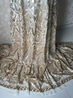 Wholesale Hot sale white net lace fabric with gold sequins wedding lace French lace fabric African tulle lace material UN9