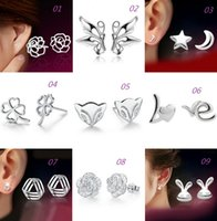 Wholesale New Women Silver Studs Earrings Anti Allergic Silver Jewelry Earrings