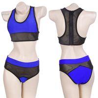 Cheap 2015 Women's Sexy Mesh fabric Bikini set Steel bracket Swimsuit high waist bikini Swimwear Beachwear Bathing Suit 35