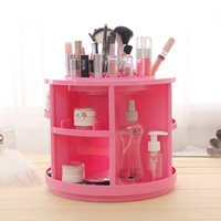 best abs woman - Best Women Beauty Gift Round Two Color White and Pink ABS Degree Rotating Cosmetic Organizer Makeup Storage Box Trail Order