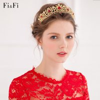 Wholesale BM Hot Sales Sparkling Hair Accessory Bridal Tiaras Golden With Red Crystals Luxury Imperial Crown For Women