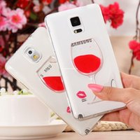 Cheap Plumblossom Note3 Liquid Quicksand Red Wine Glass Beer Glass Clear Transparent Phone Case For Samsung Galaxy Note 3 N9000 Hard Back Cover