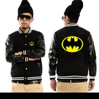 batman leather jacket - Fall Western countries cotton Batman bat man baseball Jerseys leather fleece jackets Superman Design hoodies movie theme of character