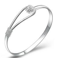 Wholesale women Rose Bracelets Sterling Silver Bracelet Flower Bangles Bracelet Hand Chain bracelet bangles vintage charms jewelry D1168
