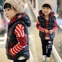 Wholesale Winter children s wear children with thick cotton vest boys girls fashion hooded cotton vest