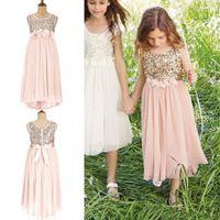 Wholesale 2016 Blush Flower Girls Dresses Gold Sequins Hand Made Flower Sash Tea Length Tulle Formal Wear Jewel A Line Kids Junior Bridesmaid Gowns