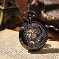 beetle watch - Beetle Pendant Hand Wind Mechanical Pocket Watch Black Skeleton Steampunk Watch Cool Japan Lucky Chain Necklace Gift Watch