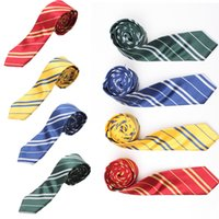 Wholesale Top Quality New Fashion Men s Stripe Colored Silk Neck Tie pics Harry Potter Style New Arrival