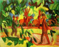 avenues hand painted - Impression oil painting for sale August Macke Horsemen and Walkers in the Avenue hand painted
