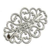Wholesale 50 pieces Silver Tone Plated Charm Flower Pin Brooch x32mm Jewelry Making Findings BP13