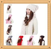 winter hat scarf and glove set - 2014 New Women Knitting Hat and Scarf Set for Girls Beanies Shawl Kit Winter Excluding The Gloves
