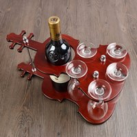 decorative glass wine bottle - Wooden Violin Wine Bottle Holder Stand and Goblet Glass Hanging Rack Decorative Drinkware and Barware Gadget Craft Ornament