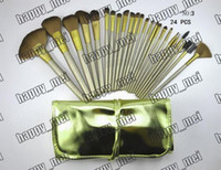 Lip Gloss leather pieces - Factory Direct Set New Makeup Brushes NO Brushes Pieces Brush With Gold Leather Pouch
