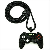 bling jewelry - high quality hip hop bling Gold Black Silver mens cm chunk long chain necklace game controller USB GAME PAD pendant necklace jewelry