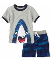 Boy boys suits - Sports suit for little boys pure cotton short sleeve kids leisure suit cartoon stripe children clothing sets five color fit age ab2638