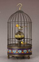 alive birds - Works Excellent vintage Big brass birdcage machine Clock with alive bird Antique Style Clocks Free Shiping