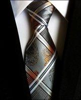 Wholesale Paisley Glod Silver Silk Necktie New Fashion Jacquard Woven Classic Mens Tie Brand