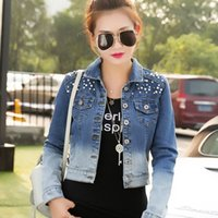 big e jeans - Promotion Hot New FASHION Women s Autumn Korean e rivet denim short jacket Big size Slim jeans jacket women XL