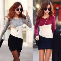 Wholesale OL Women s Fashion Clothes Bodycon Knit Autumn Winter mini dress Tops Long sleeve dress