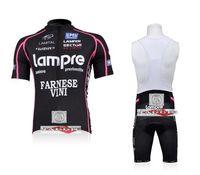 Wholesale Lampre black bib short sleeve cycling jerseys wear clothes bicycle bike riding jerseys bib pants shorts