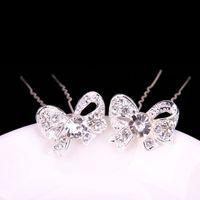 Wholesale Wedding Accessories Bridal Bowkot Hairpins Flower Crystal Rhinestone Hair Pins Clips Bridesmaid Women Hair Jewelry