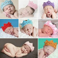 Wholesale Baby Infant Headband Crown Knitting Crochet Costume Soft Adorable Clothes Newborns Photography Props Baby Photo Hat Cap