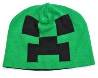Wholesale New Minecraft Creeper Crochet Knit Hats cooliet Knit Beanie Caps Leisure knit cap autumn winter caps for Children Men Women Send EMS DHL
