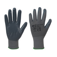 coated gloves - Grey nitrile coated working gloves with grey polyester seamless shell GLT1001G G
