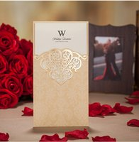 Wholesale Gold Wedding Invitations Birthday Business Hollow Laser Cut Printable Cards mm Engagement Party Invitations Wedding Shower Invitation