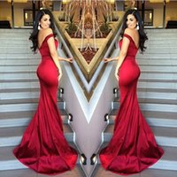 Wholesale 2015 New Arrival Backless Prom Dresses Mermaid Sexy Off Shoulder Pleats Evening Gowns Sweep Train Cheap Red Formal Celebrity Dress