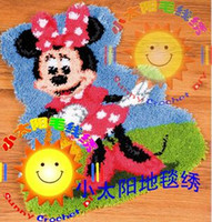 Wholesale DIY Mat Needlework Kit Unfinished Crocheting Rug Yarn Cushion Embroidery Carpet Mickey Girl SN