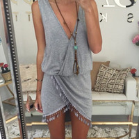 Wholesale 2015 Casual Summer Dress Fringe Tassel Dresses Sexy Grey V Neck Tulip Smock Waist Front Wrap Women Summer Dress Vestido Vestidos Z00330
