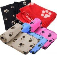 Wholesale Hot Sale Lovely Design Pet Dog Cat Paw Prints Fleece Couture Blanket Mat send by random EC061