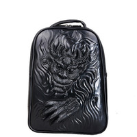 Wholesale 2016 DHigh Quality Men s PU leather Punk Stylish Cool Black Dragon Totem backpack School Casual Bags Famous Designer Brand Backpacks