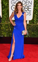 Wholesale 2015 nd Golden Globe Sexy Royal Blue Celebrity Dresses Cindy Crawford V Neck Split Side with Pleated Formal Red Carpey Evening Gowns WWW