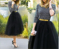 american clothing sizes - Ladies Tulle Skirt Puff Midi Calf Skirts Black Jupe M L XL Plus size High Waist skirts womens american apparel Skater Pleat Long Clothing