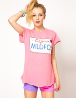belly dance shirts - 1504 Hot sale womens t shirts fashion summer dropshipping WILDFOX California CA1997 printed color pink round neck t shirts