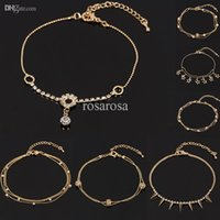 Cheap Wholesale-1pc Lady Girl Summer Gold Tone Charm Crystal Rhinestone Ankle Bracelet Anklet Hot Sale