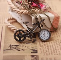 bicycle without chain - Retro Mini Bronze Bike Bicycle Design Quartz Pocket Watch Pendant Necklace Chain Key Chains Key Rings