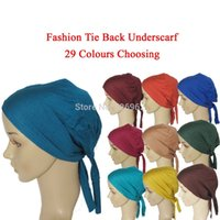 Wholesale New Muslim Real Scarves Fashion Female Jersey Instant Islamic Tie Back Underscarf Hat Headband Hijab Caps