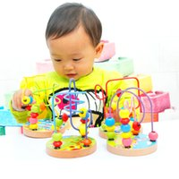 Wholesale baby toys kids Educational toys children s Wooden toys toy beads string of beads game Mini beads around animal chassis styles