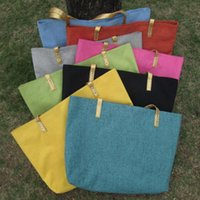 Wholesale BHlanks Water Proof Natural Jute Beach Bag Shopping Tote Bag with Colors for Choosing DOM106131