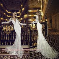 classic wedding dress - Classic lace wedding dress with Deep V Neck Sheer Long Sleeves Lace Backless Brush Train Long Mermaid New Elegant Bridal Gowns BO6943