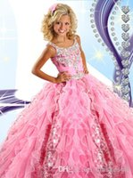 pretty girl - 2015 Pretty Pink Organza Toddler Girls Pageant Dresses Spaghetti Beaded Crystals Ruffles Lovely Hot Tiered Girls Formal Dresses RG6454