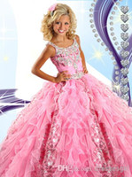 Wholesale Pretty Pink Organza Glitz Girls Pageant Dresses Spaghetti Beaded Crystals Ruffles Lovely Tiered Girls Formal Dresses RG6454